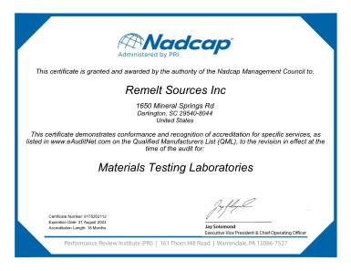 NADCAP Materials Testing Certificate - Click for PDF