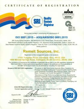 ISO 9001:2008 - ANSI/ISO/ASQ Q9001-2008 Certificate